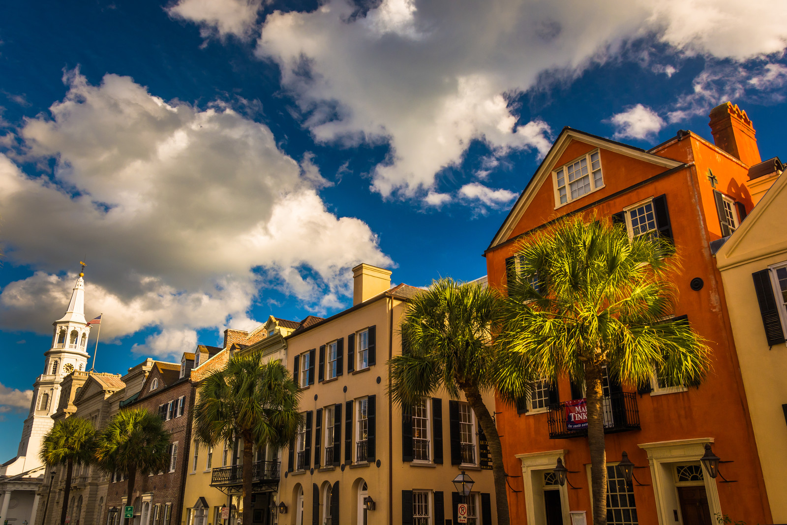Places to Retire in South Carolina -Colorful Buildings On Broad Street In Charleston, South Carolina.
