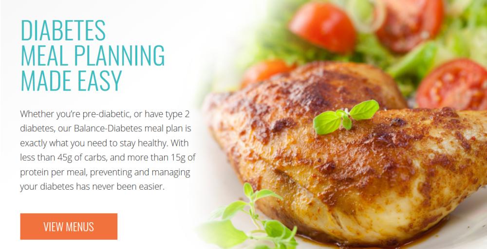 Diet to Go website screenshot showing chicken breasts and salad