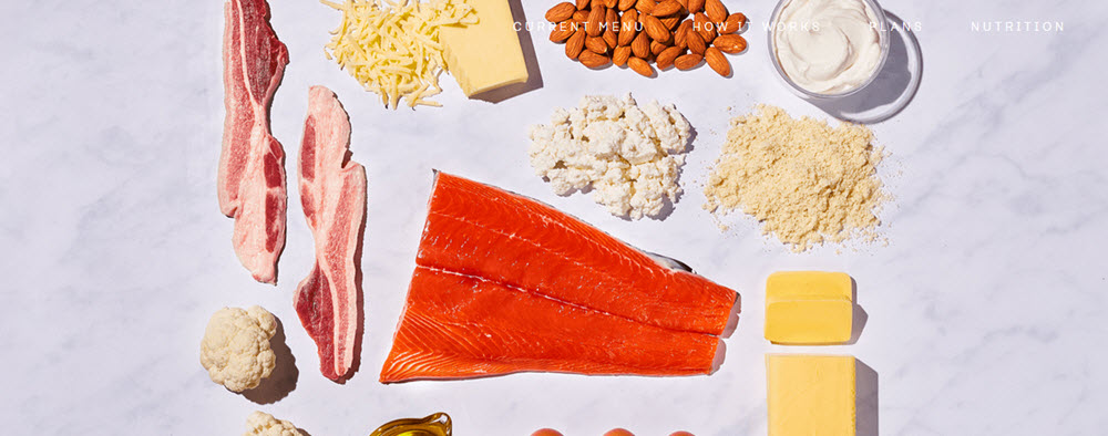 Various keto ingredients on a light background from the Factor_ website