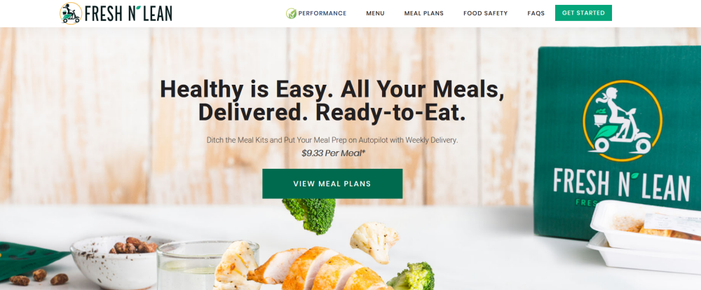Fresh n Lean Website Screenshot showing a box from the company and ingredients on a table