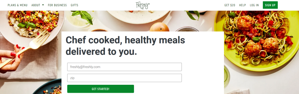 Freshly Website Screenshot showing various fresh dinners from the company