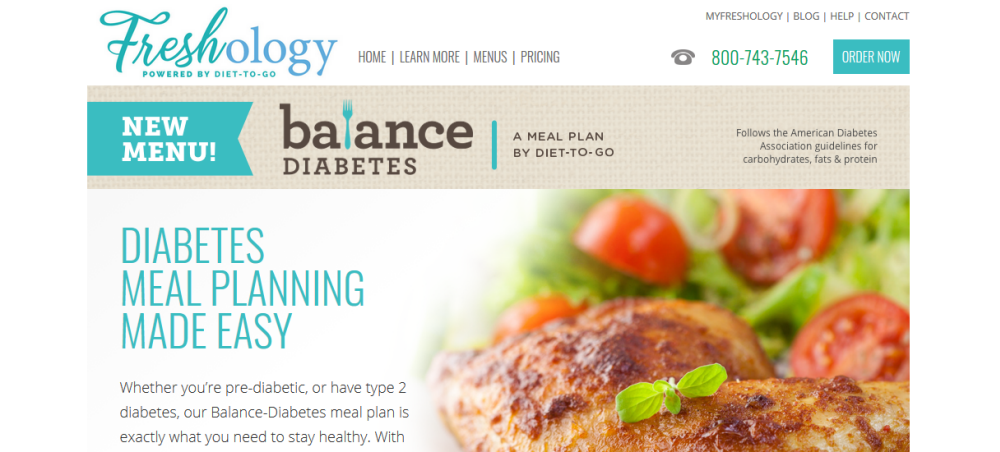 Freshology website screenshot showing chicken breasts and salad