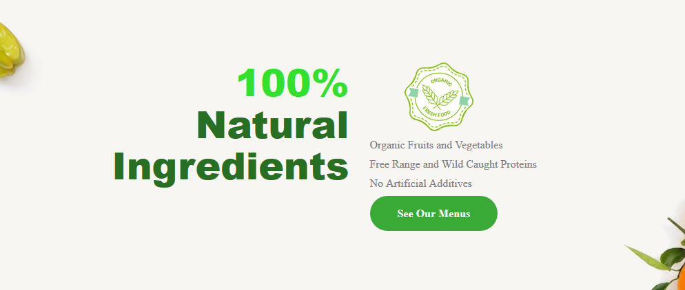 Healthy Chef Creations website screenshot showing text about 100% natural ingredients and a light background