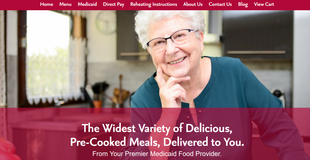 Homestyle Direct Website Screenshot showing a senior woman looking at the camera