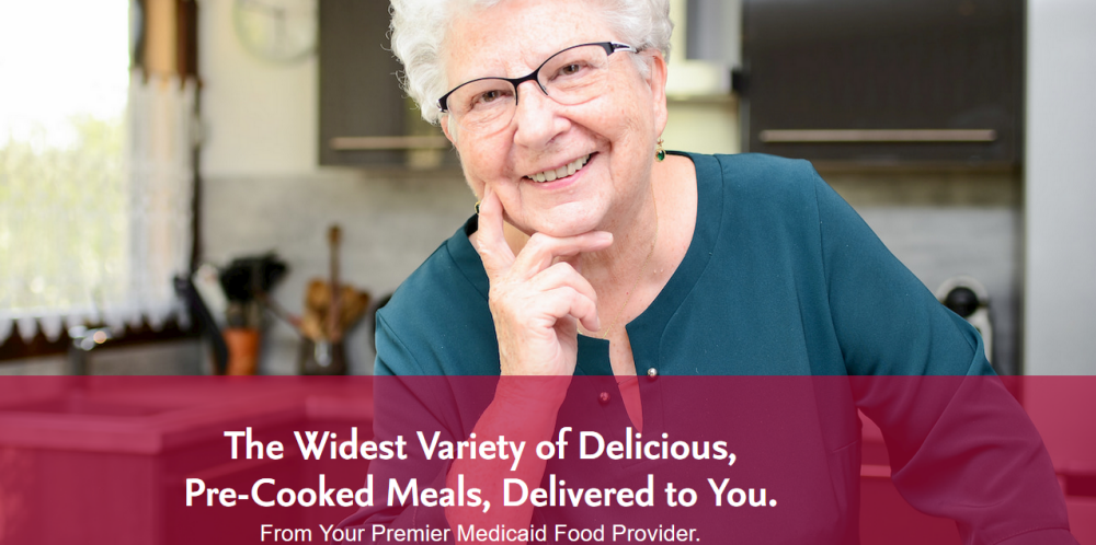 Homestyle Direct website screenshot showing an older woman in her kitchen with her fingers on her chin
