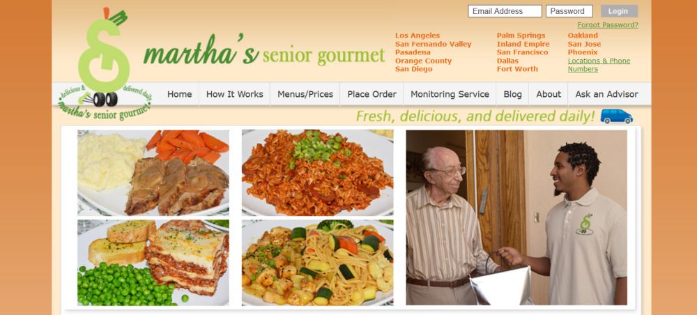 Martha's Senior Gourmet website screenshot showing a senior and a young man in one image, with four images of meals from the site
