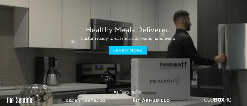 MealPro website screenshot showing a man putting food from MealPro in his fridge