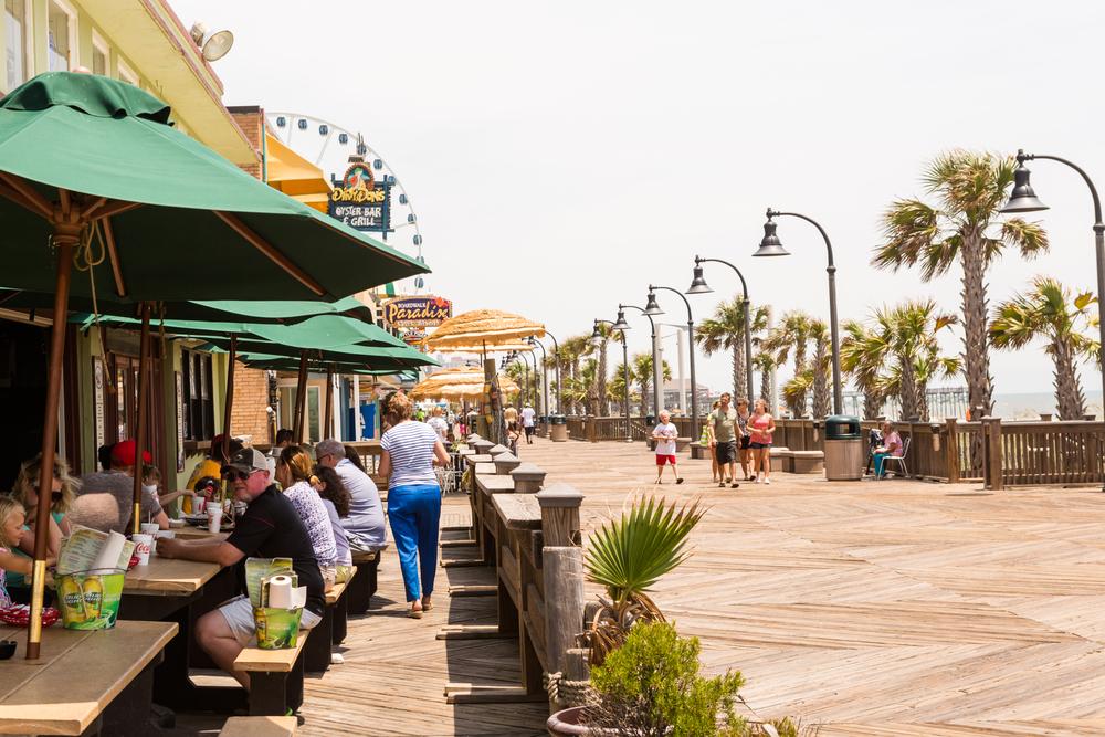 Looking down a promenade in Myrtle Beach South Carolina