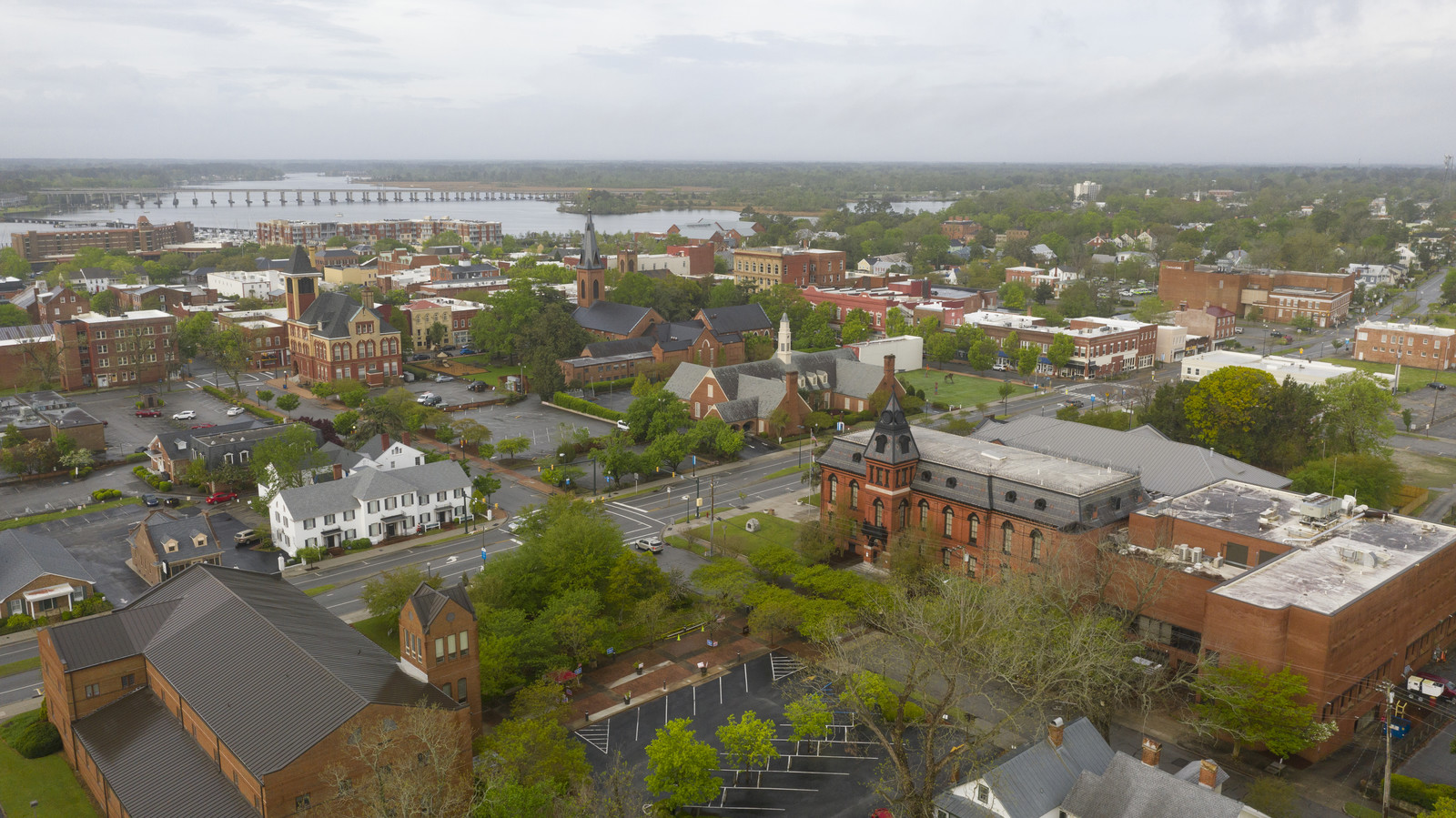 New Bern North Carolina with the Neuse River in the background with fog settling on the town