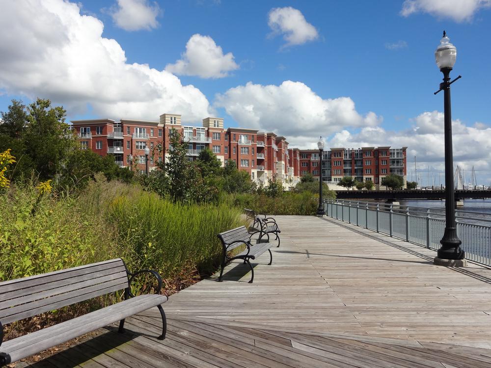 Boardwalk and houing in New Bern, North Carolina