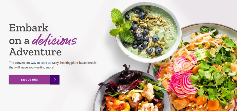 Purple Carrot website screenshot showing three bowls with healthy fresh meals