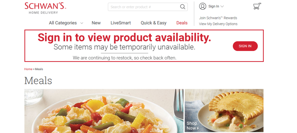 Schwans Home Delivery website screenshot showing a notice about covid and some of the meals the company offers