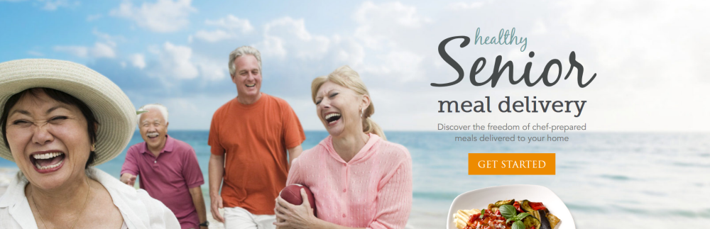 A screenshot from the Silver Cuisine website showing a group of seniors on a beach