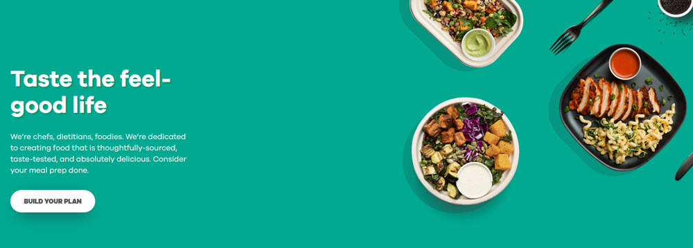 Snap Kitchen website screenshot with a teal background showing various meals