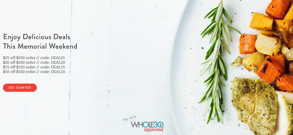 The Good Kitchen Website Screenshot showing a plate with roast veggies and chicken