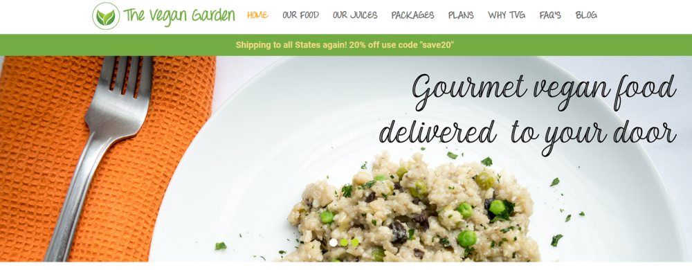The Vegan Garden website screenshot showing a couscous or quinoa meal on a plate with a fork