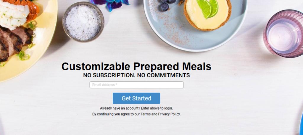Top Chef Meals website screenshot showing some prepared meals
