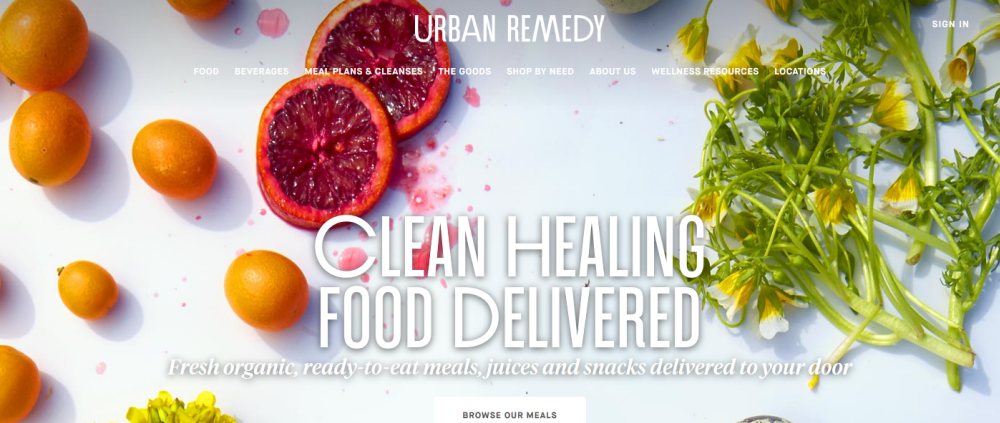 Urban Remedy website screenshot showing a selection of fresh fruit and vegetables