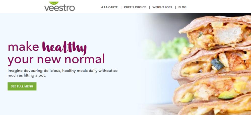 Veestro Website Screenshot showing healthy enchiladas