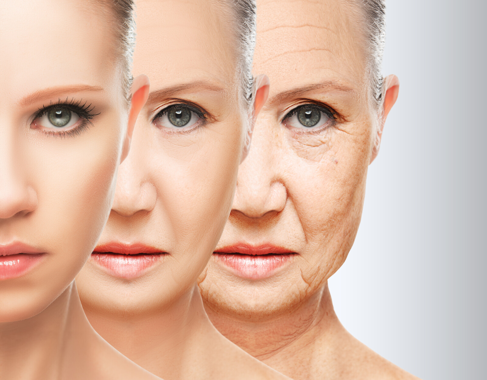 Anti-Aging Scams - Photo  with three images of a woman's face at different ages showing the changes of time