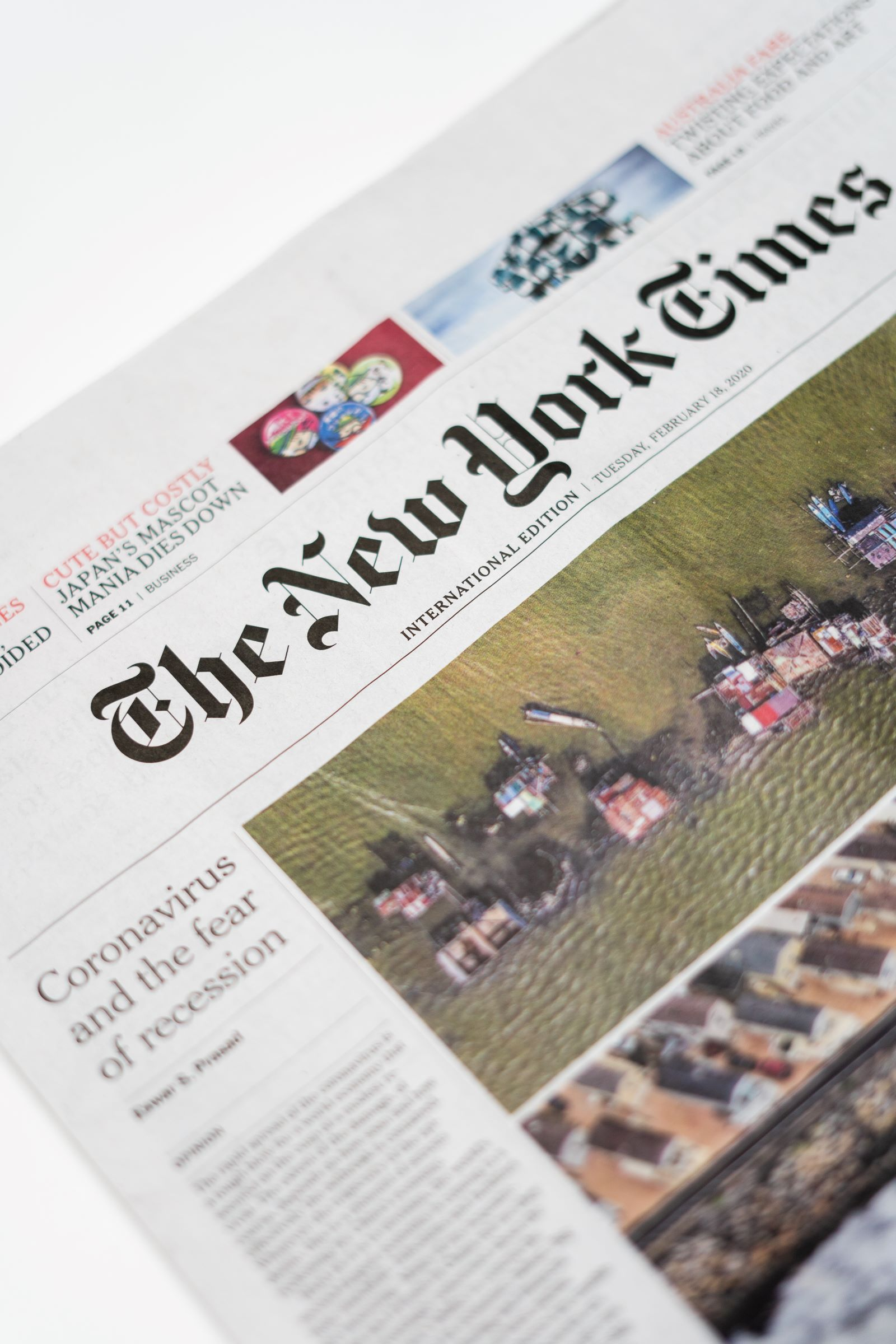 New York Times Newspaper with Coronavirus and the fear of recession on the front page