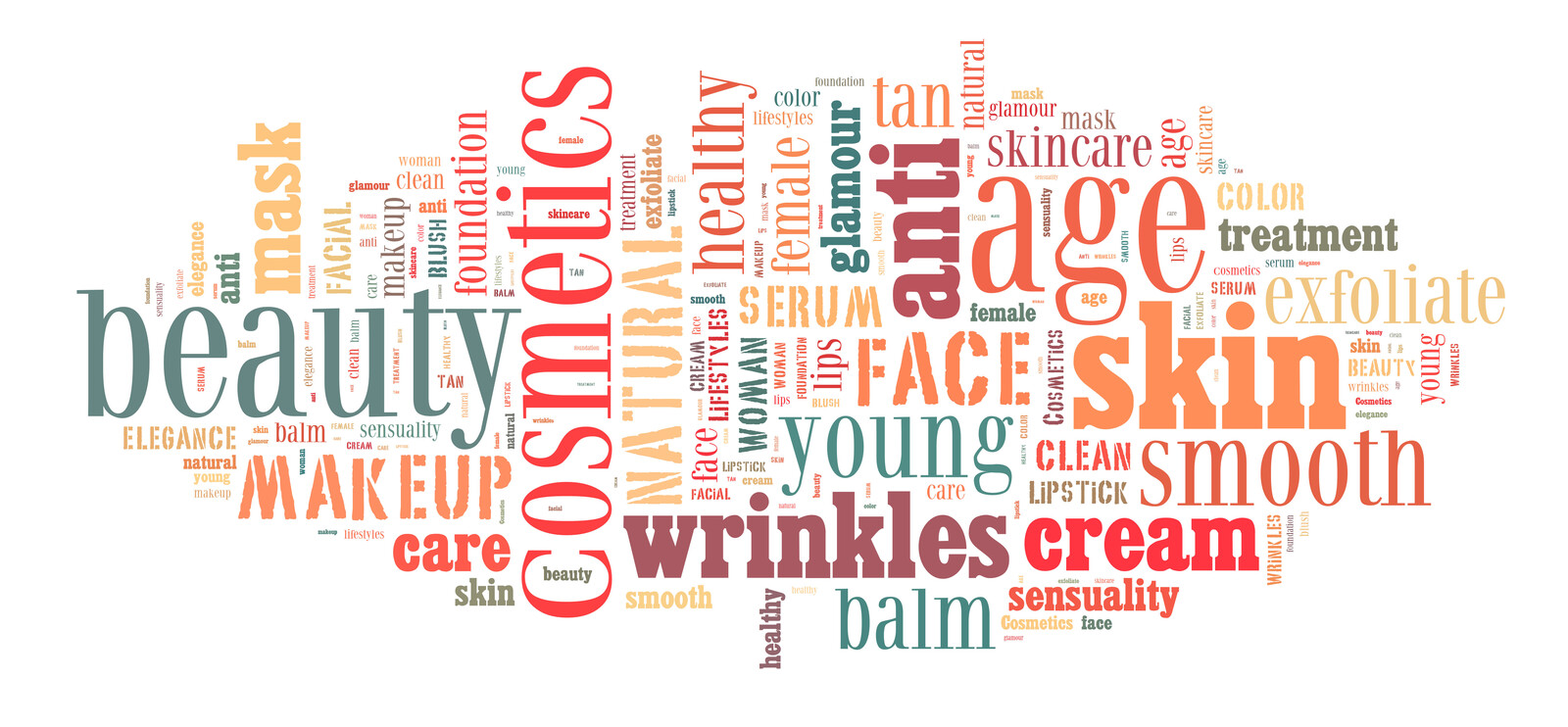 A multi colored word cloud for cosmetics and anti-aging with words like: smooth, cream, wrinkles, beauty