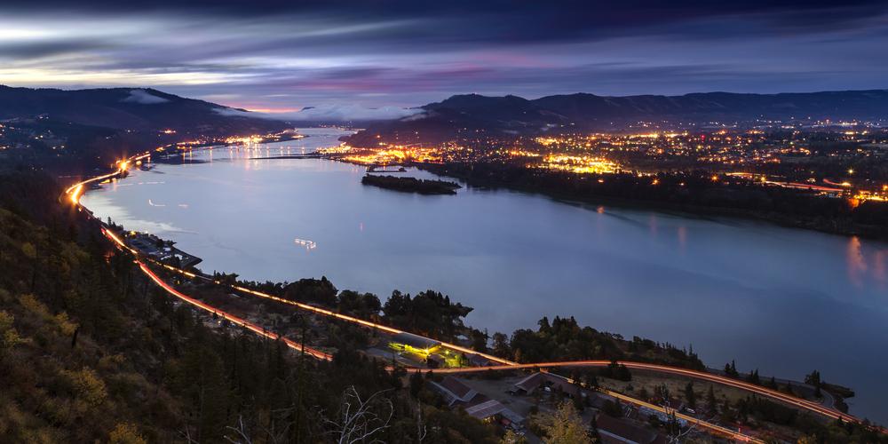A night time shot of Hood River Oregon