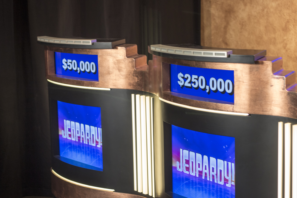 Two platforms from the show Jeopardy