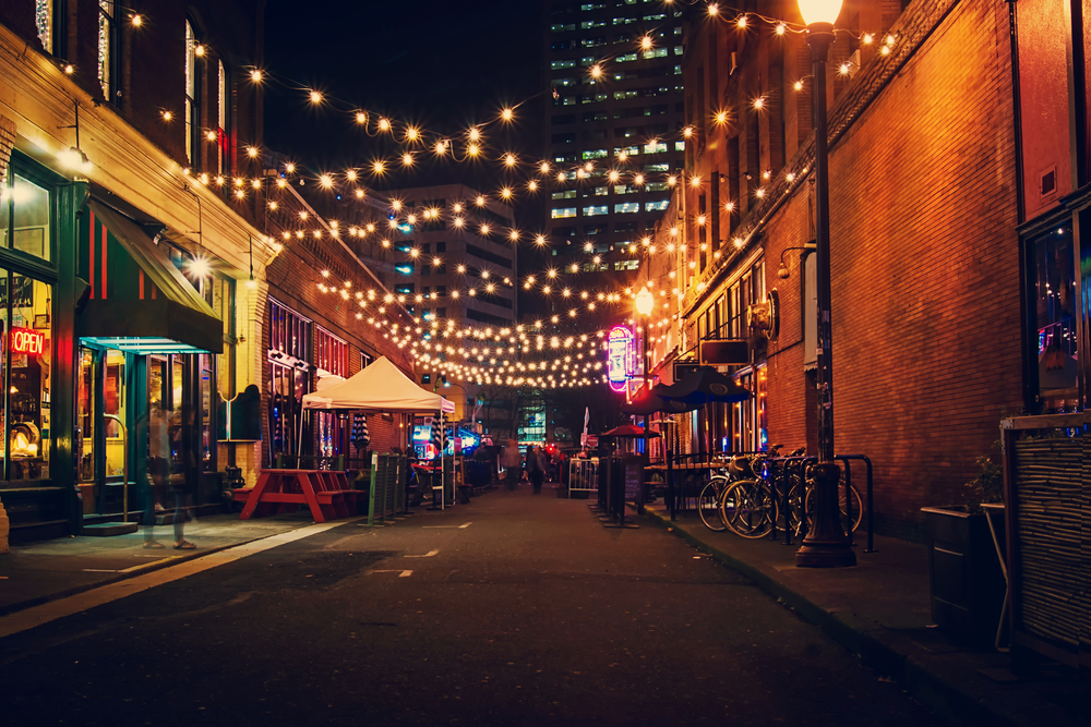 Alleys in Portland Oregon lit with fairy lights