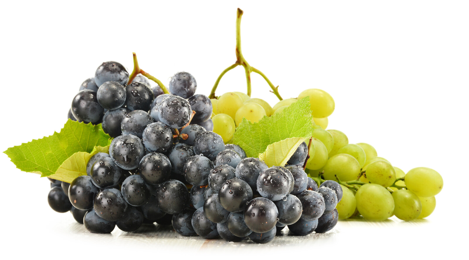 White background with red and green grape bunches