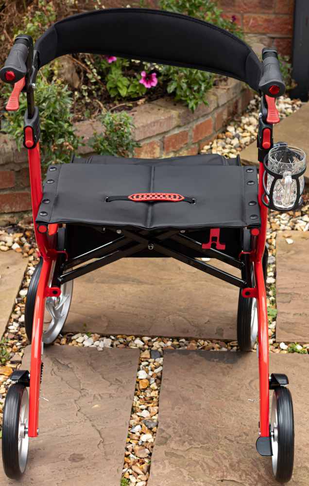 rollator walker with leather back rest