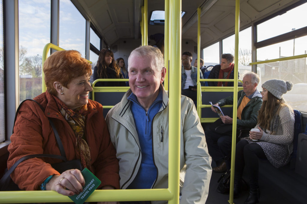 Seniors on a bus tour