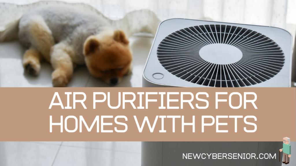 An air purifier next to a dog