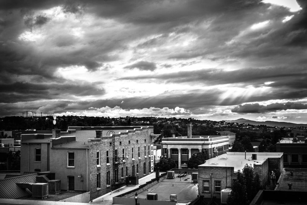 A black and white image of Cedar City
