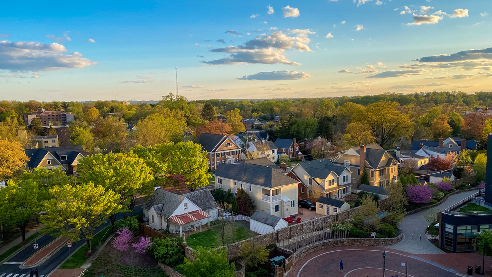 An aerial shot of the town of Chevy Chase in Maryland