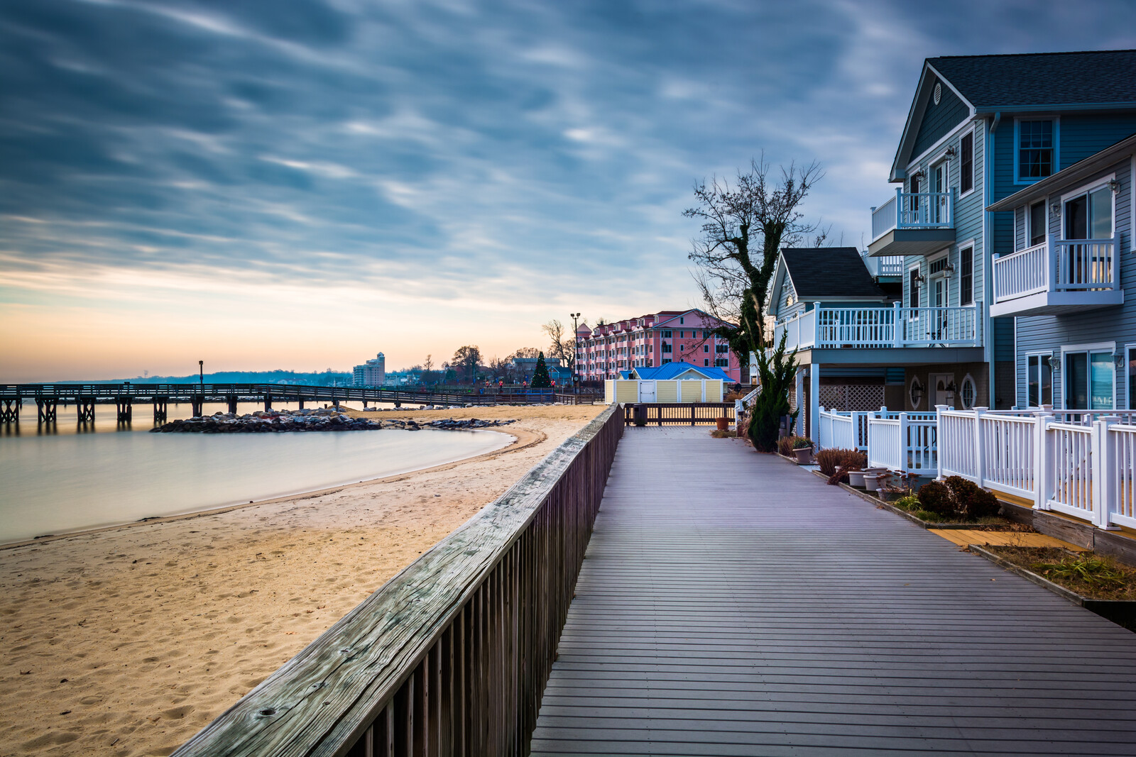 Best Places to Retire in Maryland - House on the boardwalk on the shore of the chesapeake bay, in north beach, maryland.