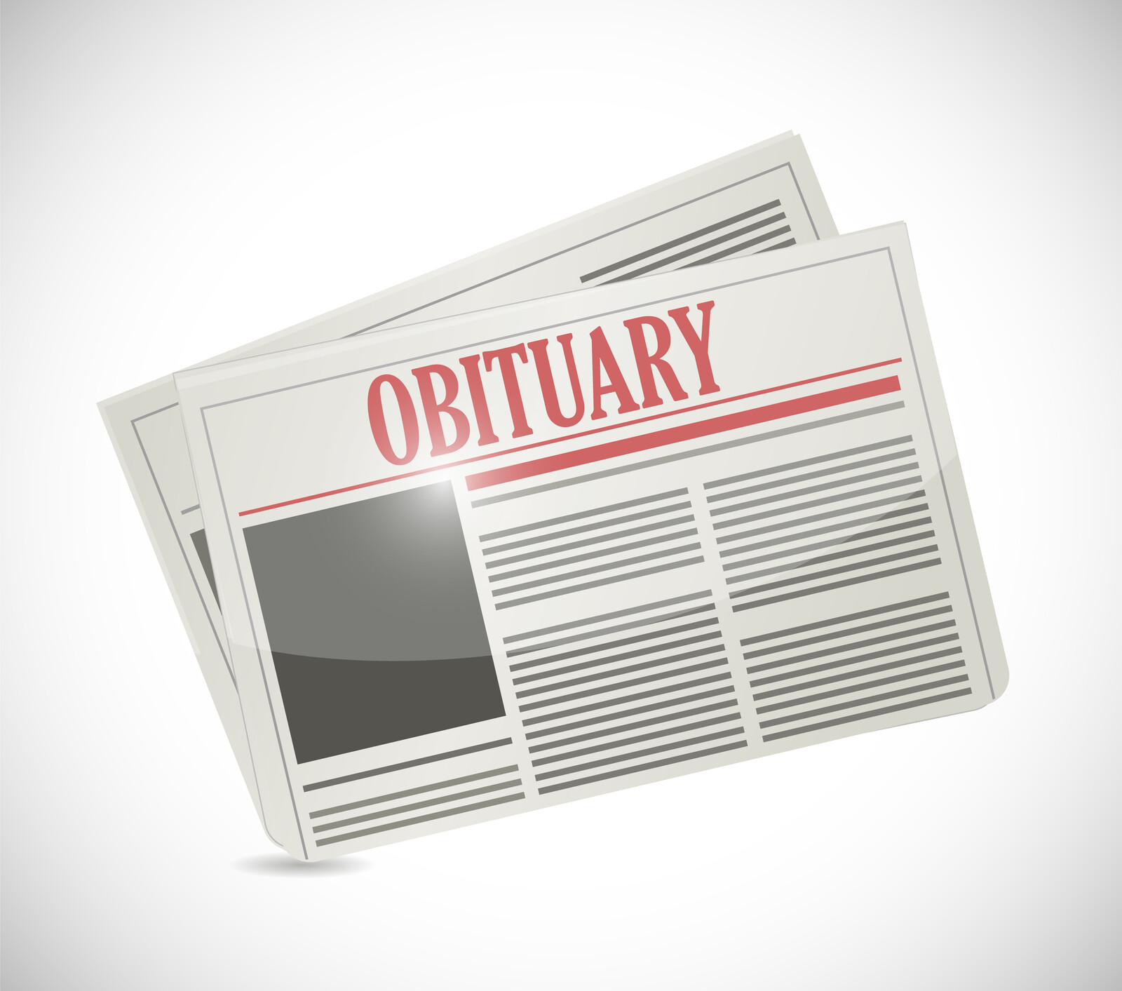 Illustration of a newspaper with Obituary as its header