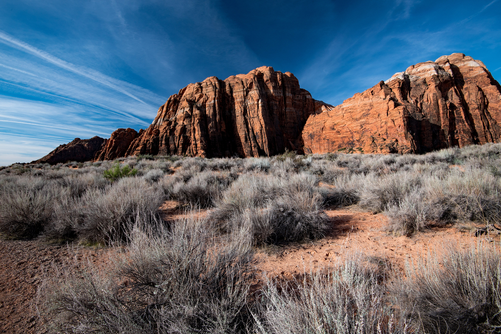 Red hills from one of the parks in Ivins Utah