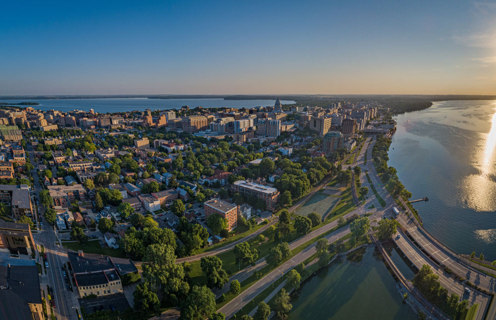 An aerial view of Madison Wisconsin
