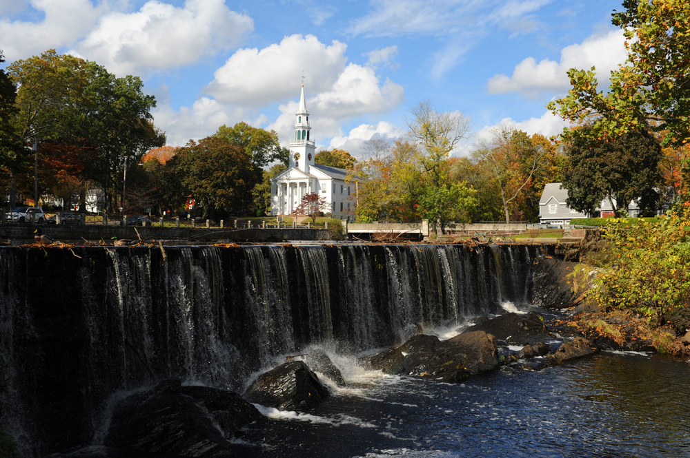 A castle and waterfall in New Milford