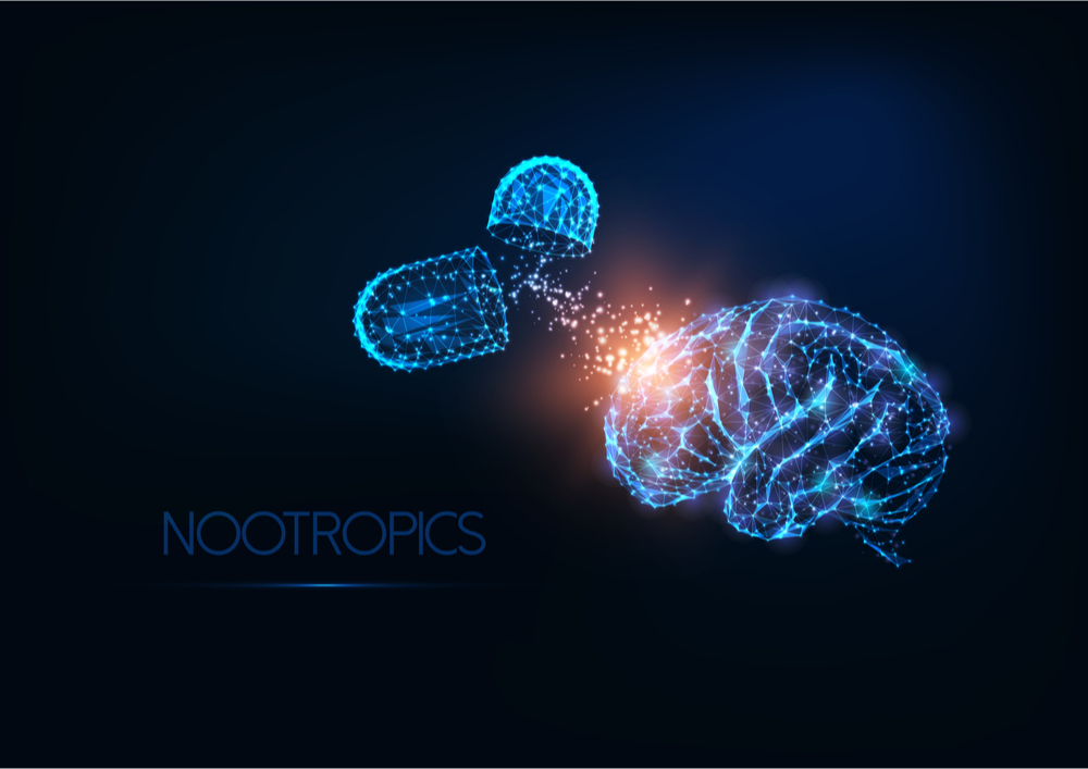A stylised concept image of a brain and a nootropic supplement
