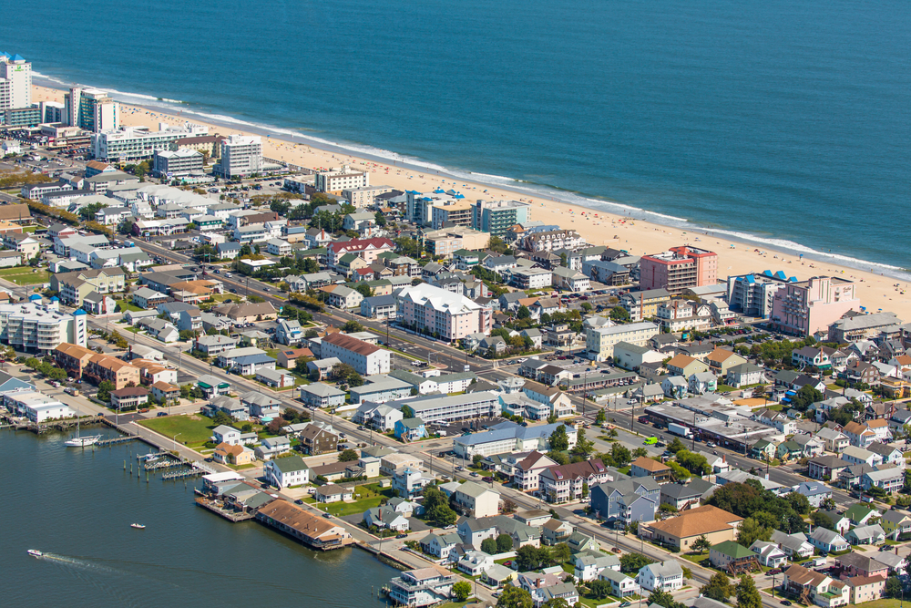 Ocean City in Maryland, showing the ocean on both sides