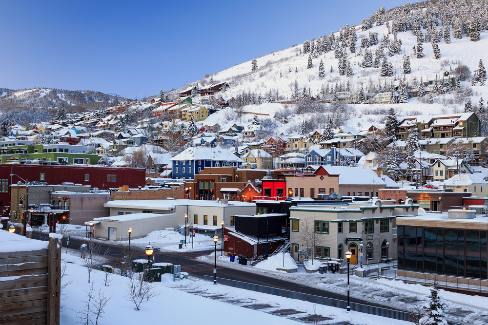 Park City Utah in the winter with snow
