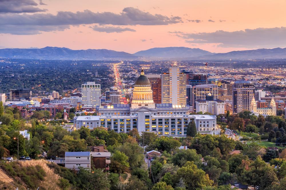 A twilight view of Salt Lake City
