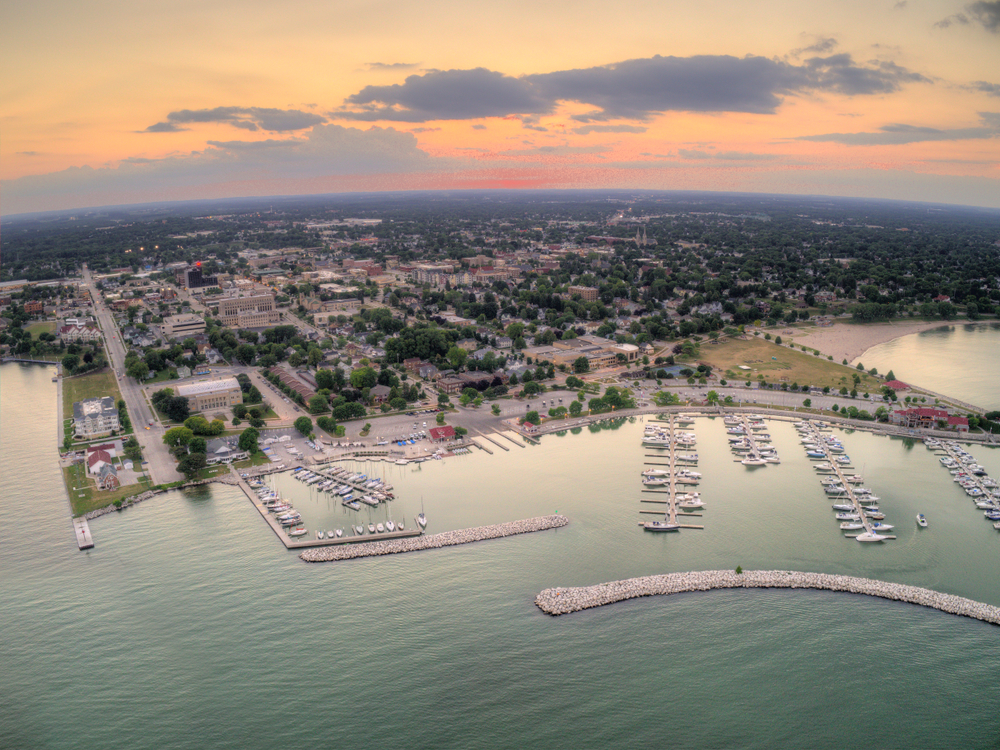 An aerial view of Sheboygan Wisconsin showing boats in port