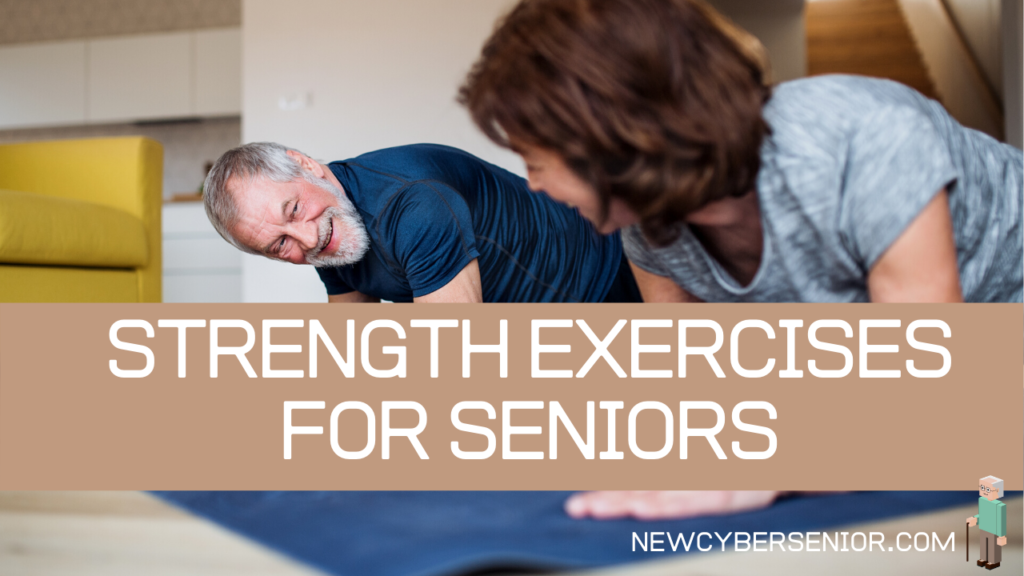 An older man and a woman doing strength exercises