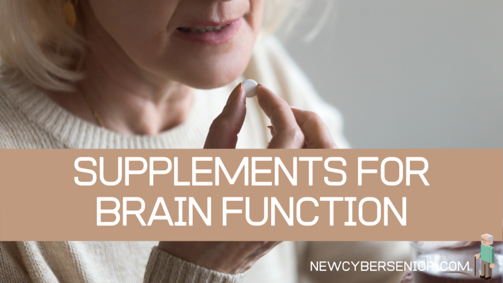 An elderly woman taking a nootropic supplement