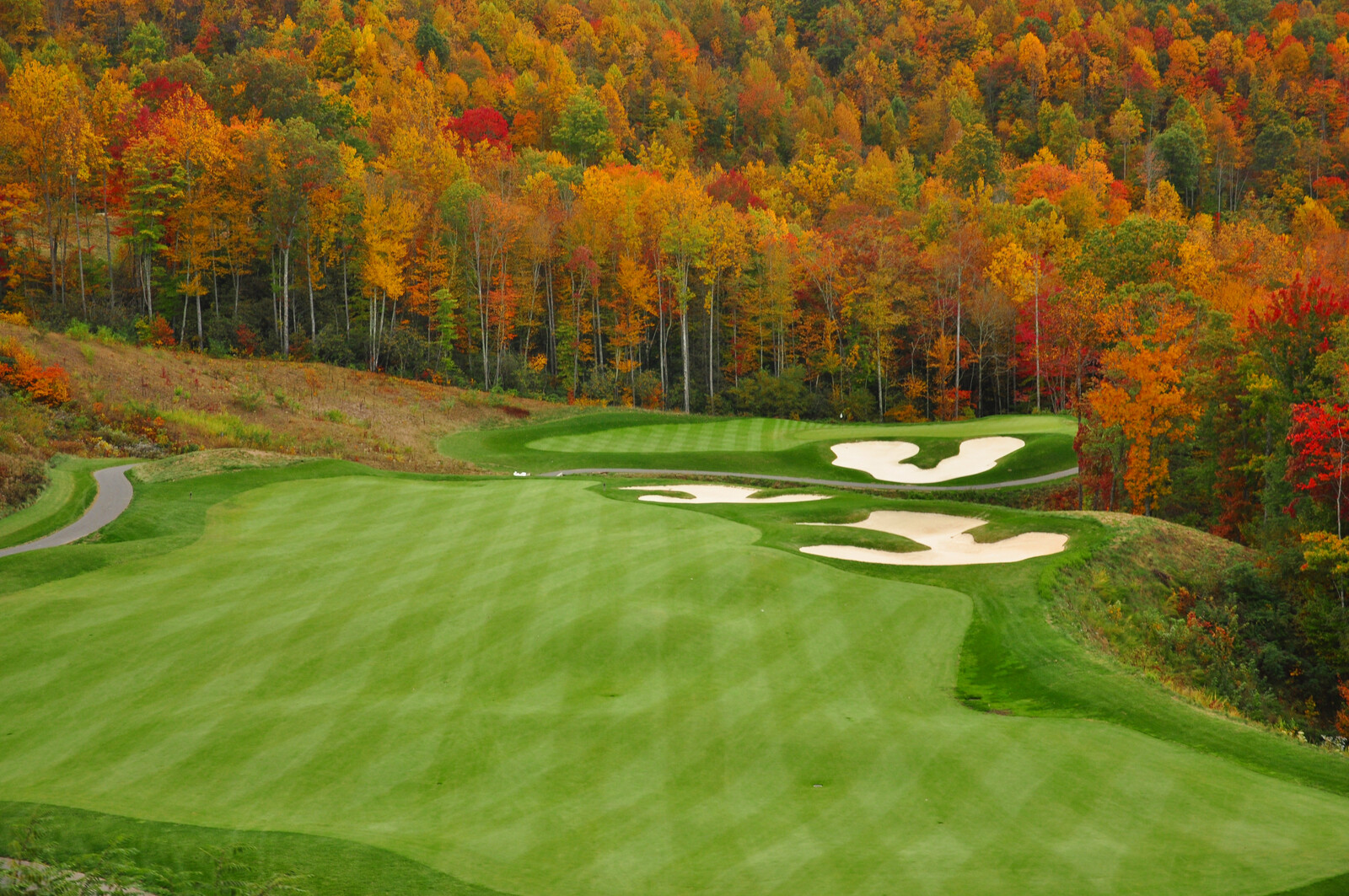 Beautiful autumn colors outlining well manicured golf greens