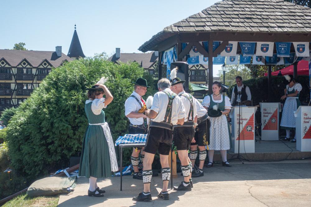 People dressed up in traditional Bavarian garb for Oktoberfest in Shepherdstown West Virginia