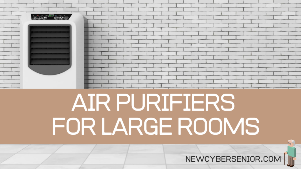 An air purifier in a large room against a stone wall